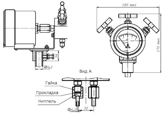 схема дифманометра стрелочного показывающего ДСП-80-РАСКО.