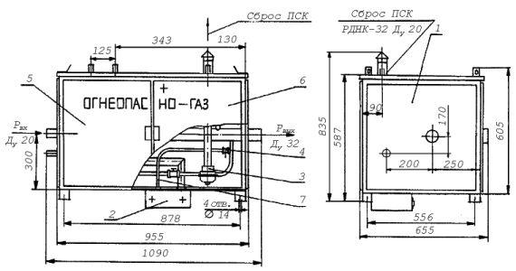 Газорегуляторный пункт шкафной с газовым обогревом ГРПШ-32-Б-О схема.