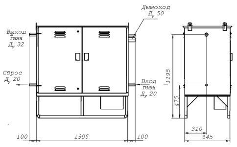 Габаритно-установочная схема газорегуляторного пункта шкафного ГРПШ-1-2Н.