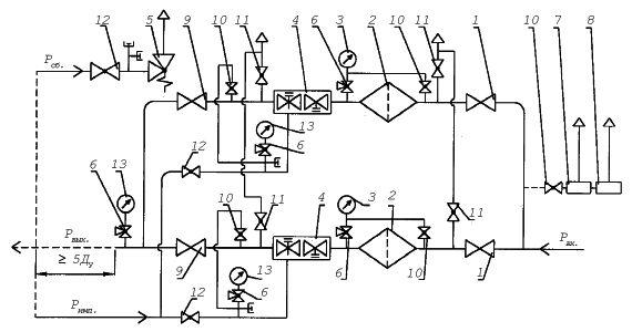 Схема пневматическая функциональная: 1 - запорная арматура; 2 - фильтр; 3 - входной манометр; 4 - регулятор давления...